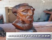 Busto de Don Quijote en fina madera de palo fierro